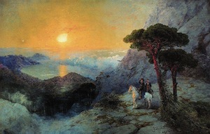 Pushkin at Ai-Petri peak during sunrise. Ivan Aivazovsky (1817–1900)