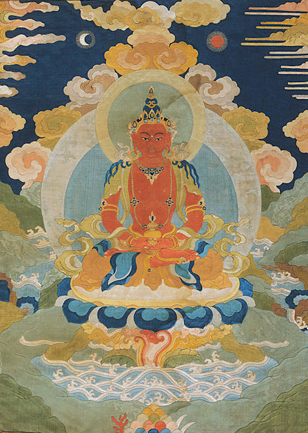 Buddha Amitabha in Tibetan Buddhism, traditional Thangka painting.