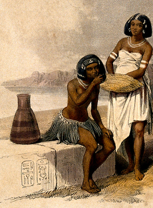 Credit: Wellcome Library, London Group of Nubian women and children resting by the Nile at Korti, Sudan. Coloured lithograph by Louis Haghe after David Roberts, 1846. - ewigeweisheit.de
